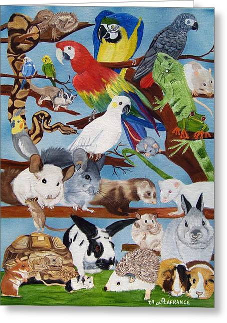 Pocket Pets Greeting Card by Debbie LaFrance