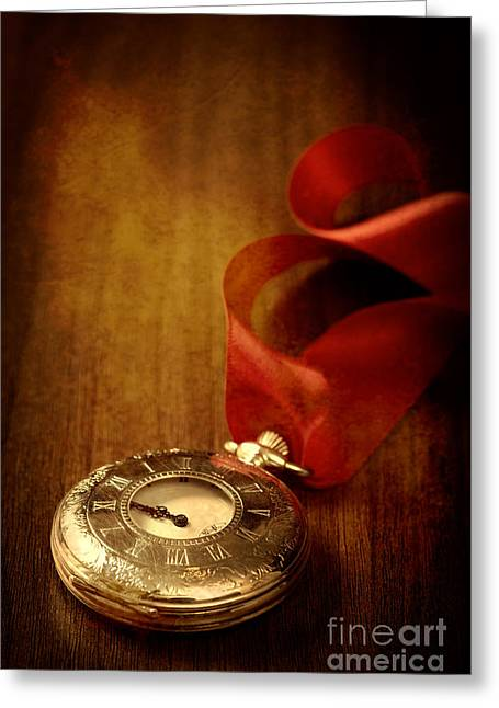 Pocket Watch Greeting Card by Amanda Elwell