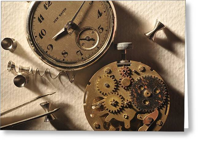 Pocket Watch Macro Number 1 Greeting Card by John B Poisson