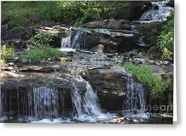 Greeting Card featuring the photograph Poconos Waterfall Stream by John Telfer