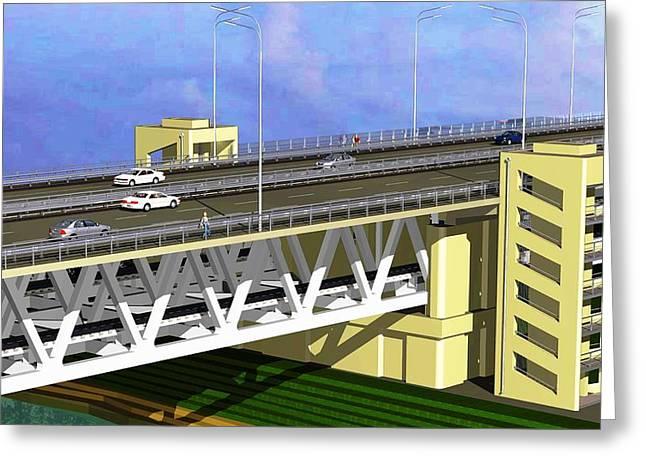 Podilsky Bridge Greeting Card by Oleg Zavarzin