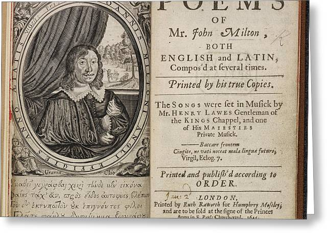 Poems Of Mr John Milton Greeting Card by British Library