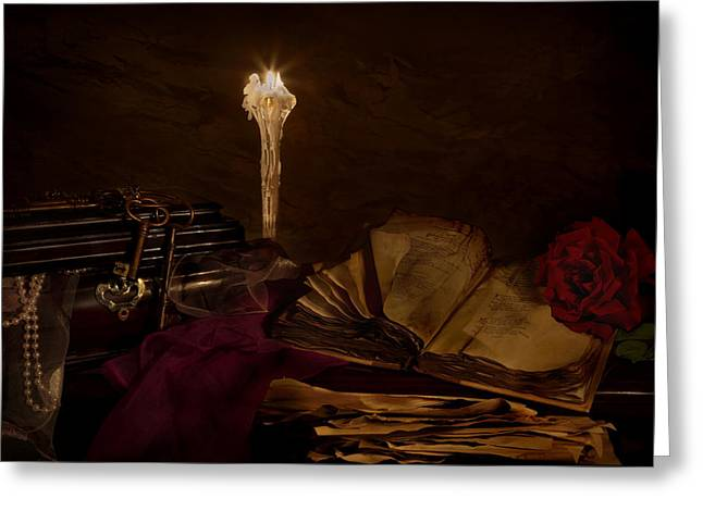 Poetry By Candle Light 2 Greeting Card by Mary Tomaino