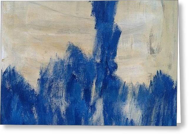 Poetry In Blue Greeting Card by Bebe Brookman