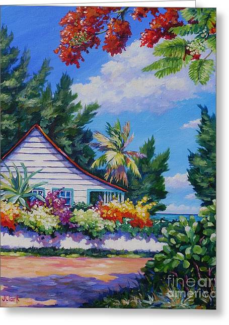 Poinciana And Cottage Greeting Card by John Clark