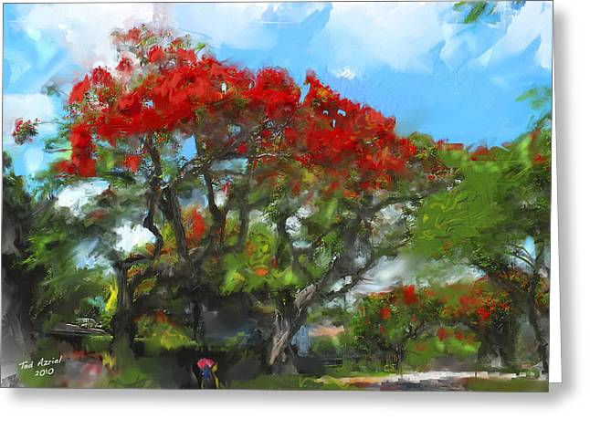 Greeting Card featuring the painting Poinciana Trees Of Coral Gables by Ted Azriel