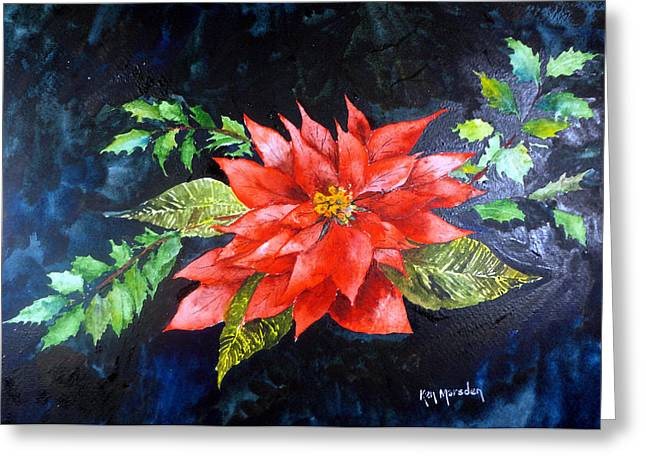 Poinsettia And Holly 2012 Greeting Card