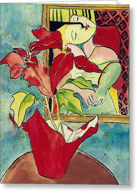 Poinsettia And Picasso Greeting Card