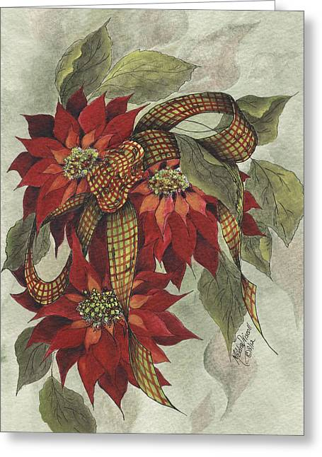 Poinsettia And Ribbon Greeting Card