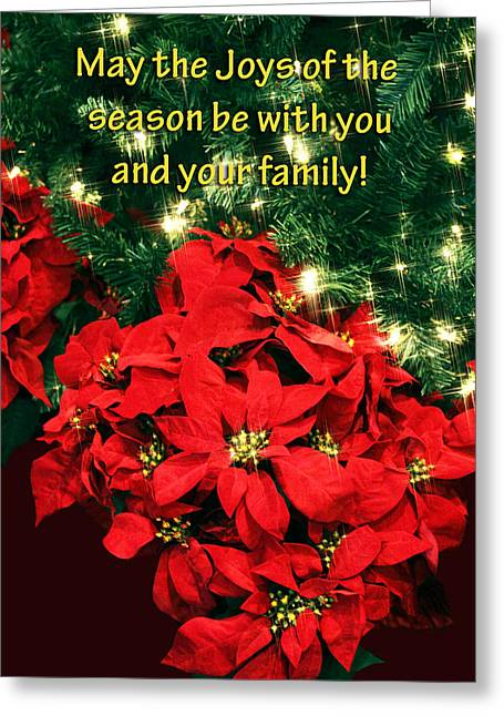 Poinsettia Christmas Card Greeting Card by Linda Phelps