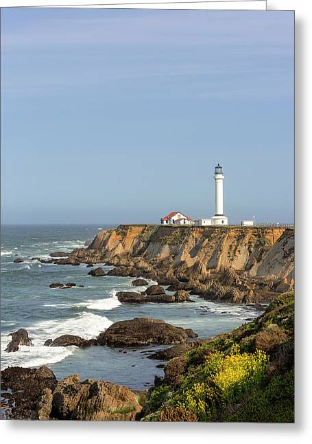 Point Arena Lighthouse On Cliffs Greeting Card by Chuck Haney