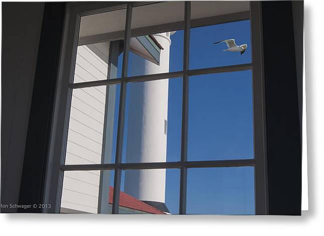 Point Arena Lighthouse Greeting Card by Ron Schwager