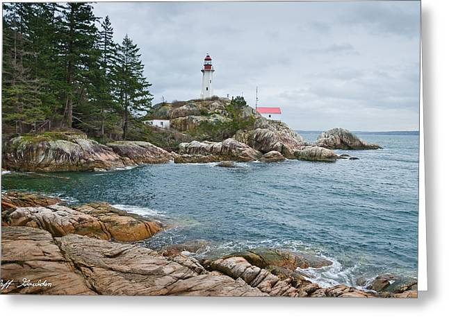 Greeting Card featuring the photograph Point Atkinson Lighthouse And Rocky Shore by Jeff Goulden