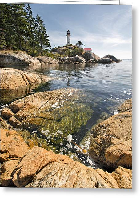 Greeting Card featuring the photograph Point Atkinson Lighthouse In Vancouver Bc Vertical by JPLDesigns