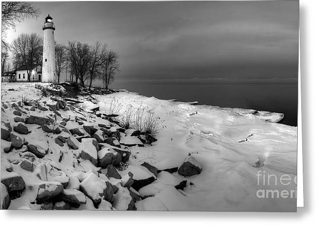Point Aux Barques Lighthouse Black And White Greeting Card by Twenty Two North Photography