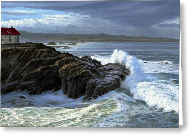 Point Cabrillo Lighthouse With Surf Greeting Card by Paul Krapf
