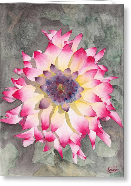 Point Defiance Dahlia Two Greeting Card by Ken Powers