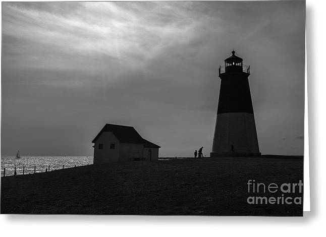 Point Judith Lighthouse Silhouette Greeting Card by Diane Diederich