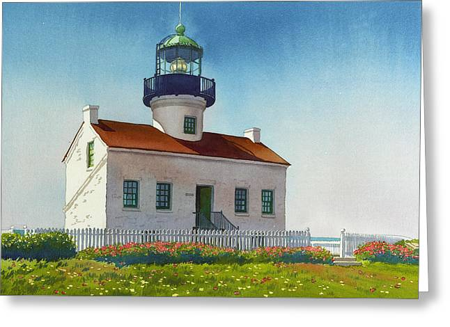 Point Loma Lighthouse Greeting Card by Mary Helmreich