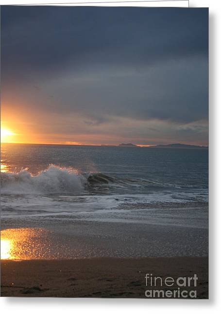 Point Mugu 1-9-10 Sun Setting With Surf Greeting Card by Ian Donley