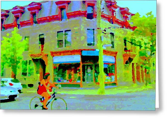 Pointe St Charles Bike Ride Rue Charlevoix Past Friperie Point Couture Street Scene  Carole Spandau Greeting Card by Carole Spandau