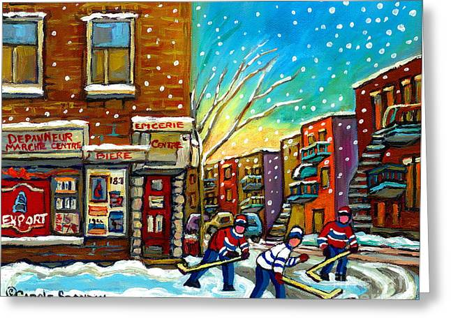 Pointe St. Charles Hockey Game At The Depanneur Montreal City Scenes Greeting Card by Carole Spandau
