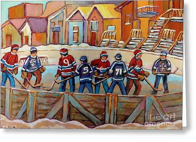 Pointe St. Charles Hockey Rinks Near Row Houses Montreal Winter City Scenes Greeting Card by Carole Spandau
