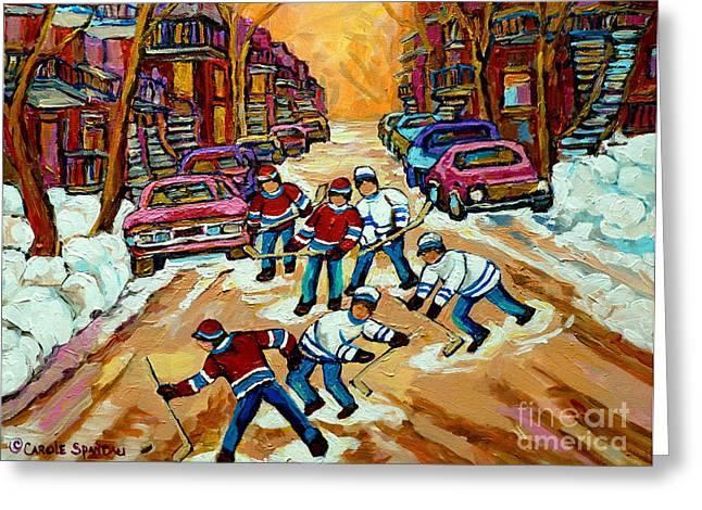 Pointe St.charles Hockey Game Winter Street Scenes Paintings Greeting Card by Carole Spandau