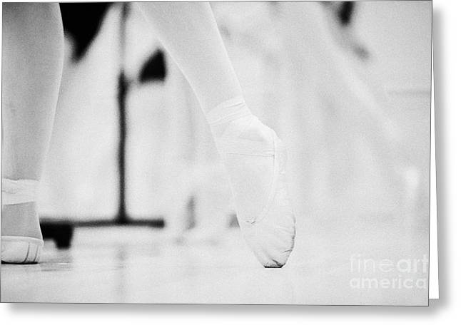 Pointed Toe In Ballet Slippers At A Ballet School In The Uk Greeting Card by Joe Fox
