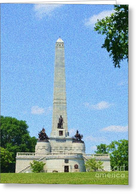 Greeting Card featuring the digital art Pointelisticlincoln's Tomb  by Luther Fine Art