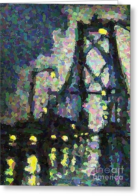 Pointilist Version Of Macdonald Bridge On A Rainy Night Greeting Card by John Malone