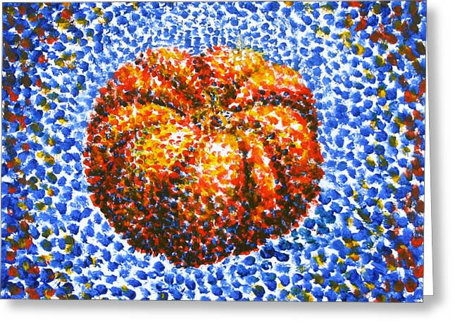 Pointillism Pumpkin Greeting Card by Samantha Geernaert