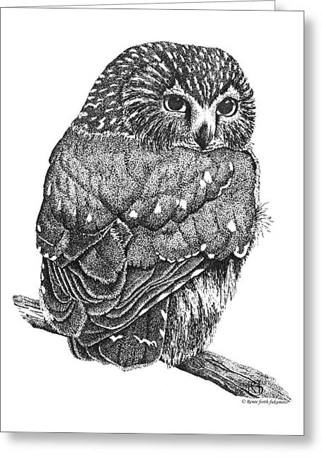 Pointillism Sawhet Owl Greeting Card by Renee Forth-Fukumoto