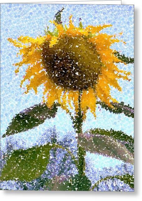 Pointillist Sunflower In Sun City Greeting Card by Barbie Corbett-Newmin