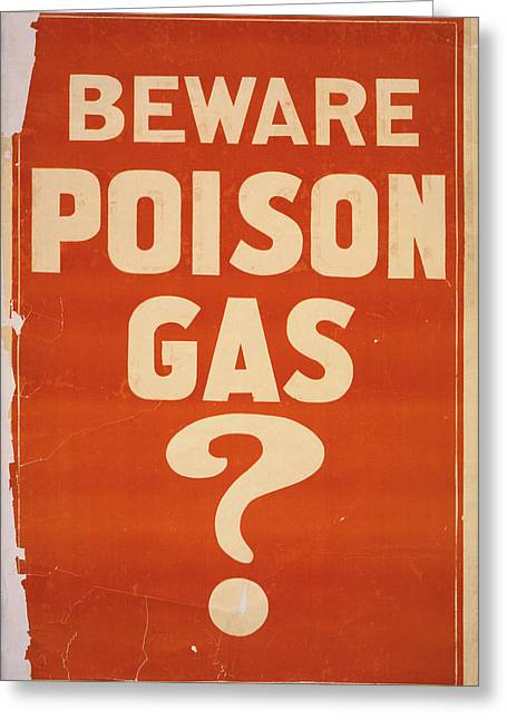 Poison Gas Poster, 1914 Greeting Card by Granger