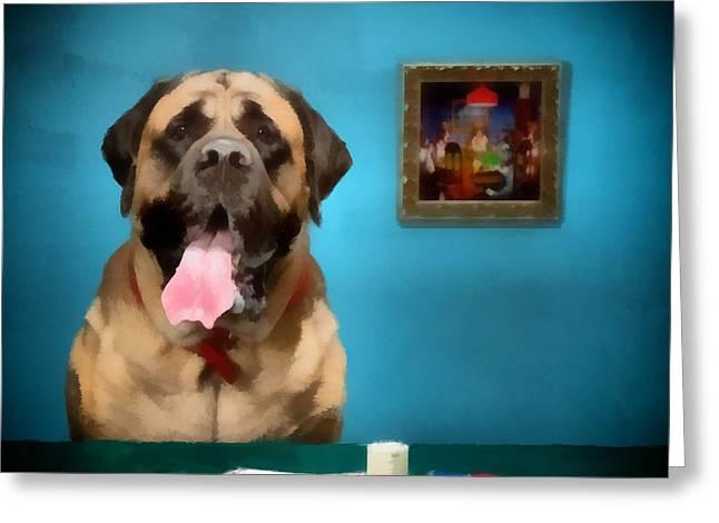Poker Anyone Greeting Card by Angel Pachkowski
