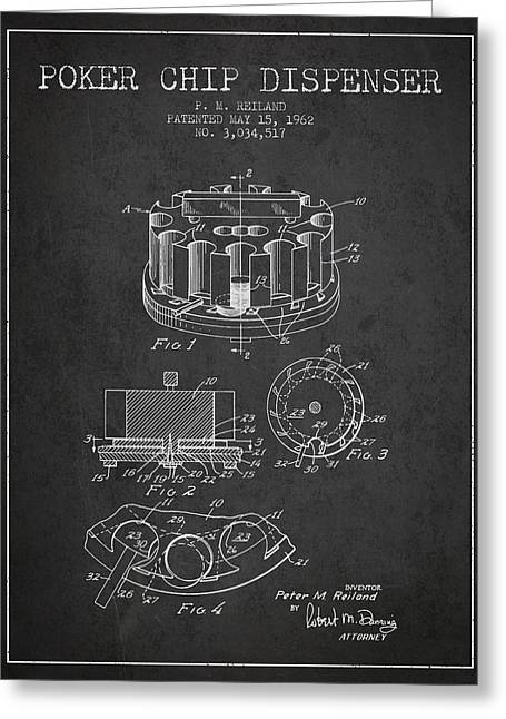 Poker Chip Dispenser Patent From 1962 - Charcoal Greeting Card by Aged Pixel