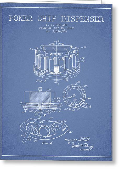 Poker Chip Dispenser Patent From 1962 - Light Blue Greeting Card by Aged Pixel