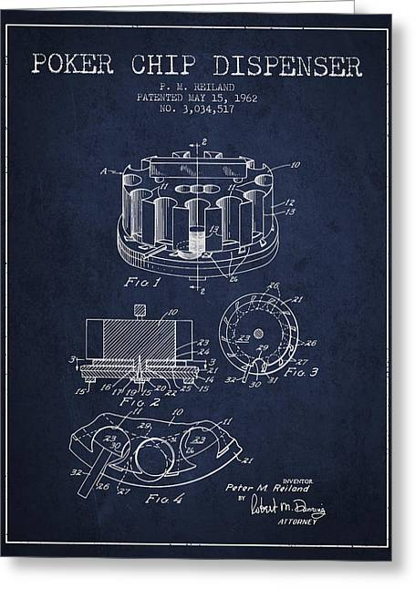 Poker Chip Dispenser Patent From 1962 - Navy Blue Greeting Card by Aged Pixel