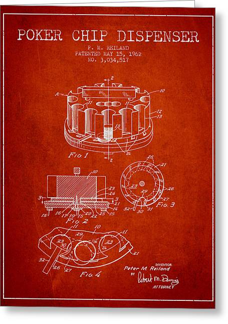 Poker Chip Dispenser Patent From 1962 - Red Greeting Card by Aged Pixel