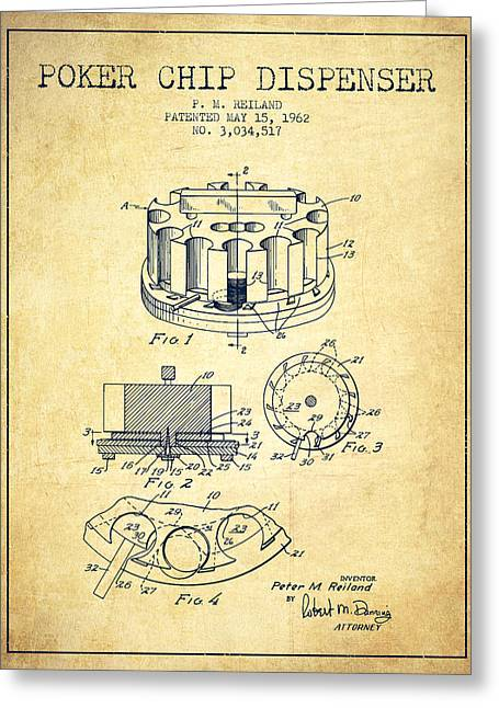 Poker Chip Dispenser Patent From 1962 - Vintage Greeting Card by Aged Pixel
