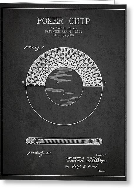 Poker Chip Patent From 1944 - Charcoal Greeting Card by Aged Pixel