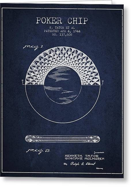Poker Chip Patent From 1944 - Navy Blue Greeting Card by Aged Pixel
