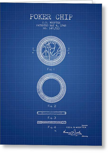 Poker Chip Patent From 1948 - Blueprint Greeting Card by Aged Pixel
