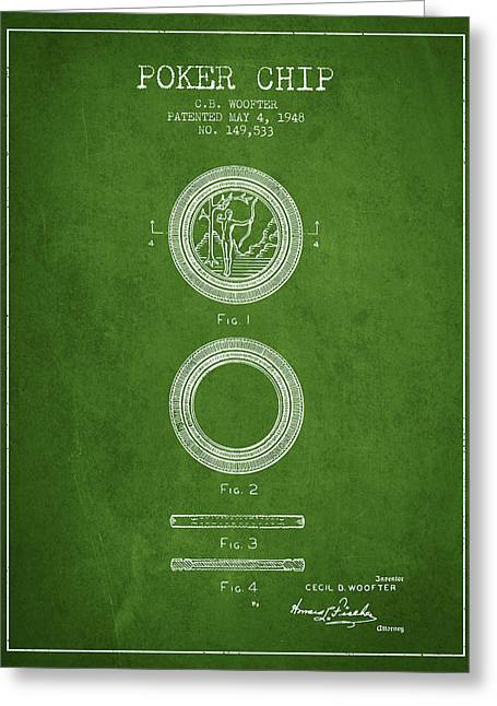 Poker Chip Patent From 1948 - Green Greeting Card by Aged Pixel