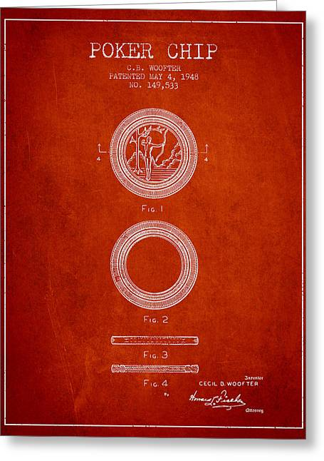 Poker Chip Patent From 1948 - Red Greeting Card by Aged Pixel