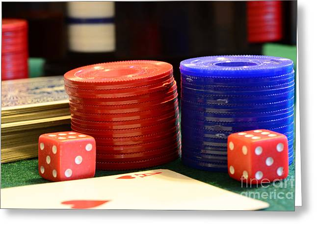 Poker Chips Greeting Card