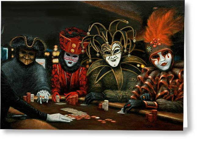 Greeting Card featuring the painting Poker Face IIi by Jason Marsh