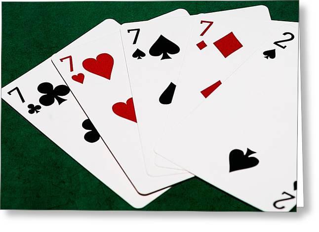 Poker Hands - Four Of A Kind 2 V.2 - Square Greeting Card by Alexander Senin