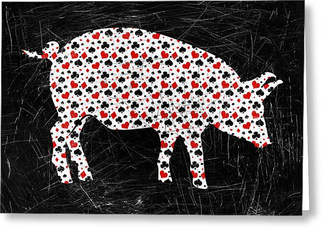 Poker Pig Greeting Card by Flo Karp
